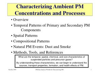 Characterizing Ambient PM Concentrations and Processes