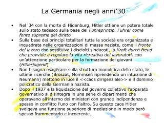 La Germania negli anni'30