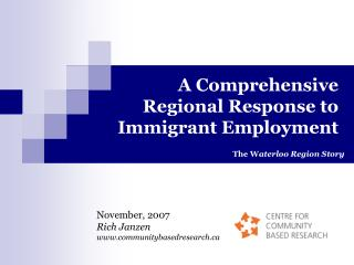 A Comprehensive Regional Response to Immigrant Employment
