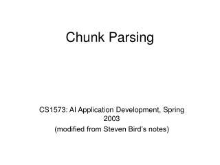 Chunk Parsing