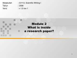 Module 2 What is inside  a research paper?