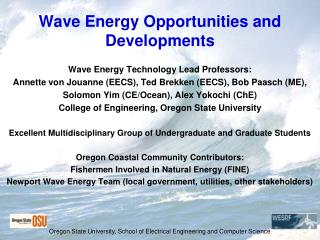 Wave Energy Opportunities and Developments