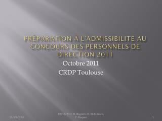 Préparation à l'admissibilité au concours des personnels de Direction 2011