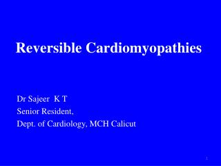 Reversible Cardiomyopathies