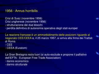 1956 - Annus horribilis Crisi di Suez (novembre 1956) Crisi ungherese (novembre 1956)