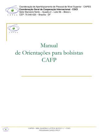 Manual  de Orientações para bolsistas CAFP