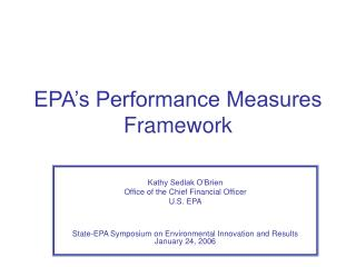 EPA's Performance Measures Framework