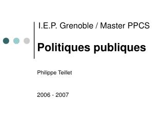 I.E.P. Grenoble / Master PPCS