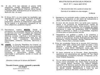 BOLETÍN ESCOLAR ESCUELA CROACIA Año 5- Nº 1 ( marzo-abril 2012)