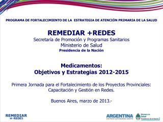PROGRAMA DE FORTALECIMIENTO DE LA  ESTRATEGIA DE ATENCIÓN PRIMARIA DE LA SALUD  REMEDIAR +REDES