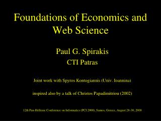 Foundations of Economics and Web Science
