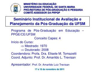 Seminário Institucional de Avaliação e Planejamento da Pós-Graduação da UFSM