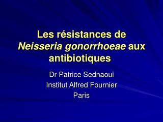 Les résistances de  Neisseria gonorrhoeae  aux antibiotiques