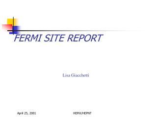FERMI SITE REPORT