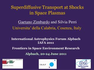 Superdiffusive Transport at Shocks  in Space Plasmas