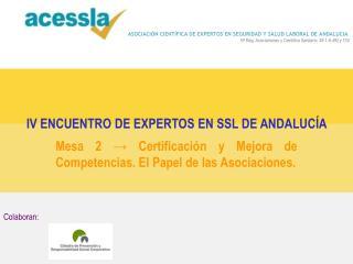 Mesa 2 → Certificación y Mejora de Competencias. El Papel de las Asociaciones.