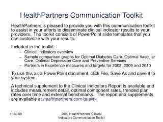 HealthPartners Communication Toolkit
