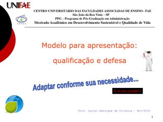Modelo para apresentação:  qualificação e defesa