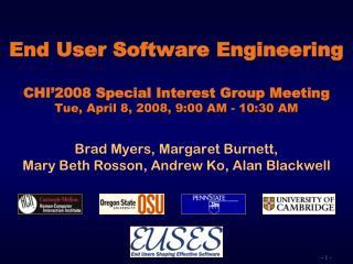 Brad Myers, Margaret Burnett,  Mary Beth Rosson, Andrew Ko, Alan Blackwell