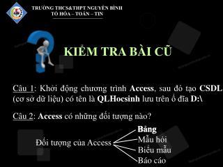 Câu 2 :  Access  có những đối tượng nào?