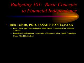 Budgeting 101:  Basic Concepts to Financial Independence