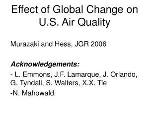 Effect of Global Change on U.S. Air Quality