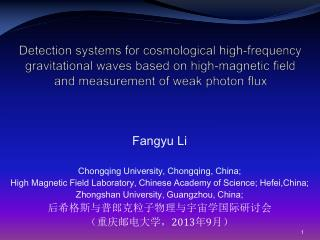 Fangyu Li Chongqing University, Chongqing, China;