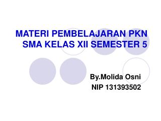 MATERI PEMBELAJARAN PKN SMA KELAS XII SEMESTER 5