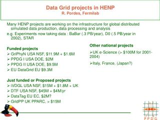 Data Grid projects in HENP R. Pordes, Fermilab