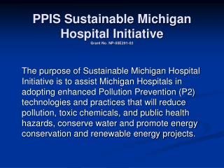 PPIS Sustainable Michigan Hospital Initiative Grant No. NP-00E291-02
