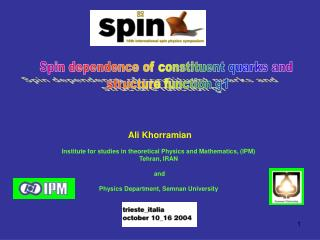 Spin dependence of constituent quarks and  structure function g1