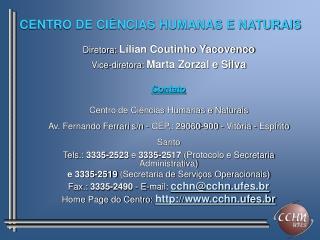 CENTRO DE CI�NCIAS HUMANAS E NATURAIS