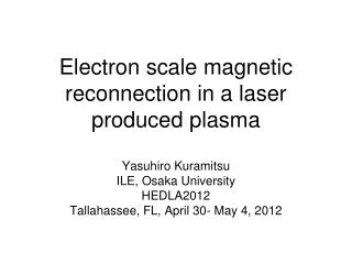 Electron scale magnetic reconnection in a laser produced plasma