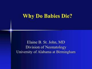 Why Do Babies Die?