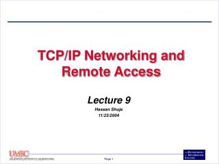 TCP/IP Networking and Remote Access