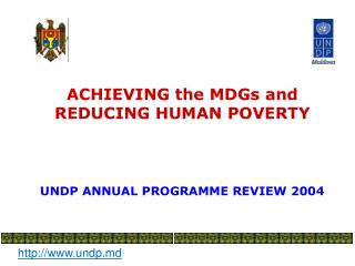 ACHIEVING the MDGs and  REDUCING HUMAN POVERTY UNDP ANNUAL PROGRAMME REVIEW 2004
