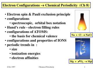 Electron Configurations  Chemical Periodicity  Ch 8