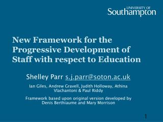 New Framework for the Progressive Development of Staff with respect to Education