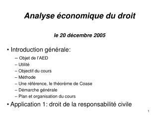Analyse économique du droit le 20 décembre 2005