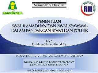 Oleh H. Ahmad  Izzuddin , M.Ag