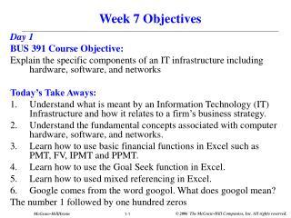 Week 7 Objectives