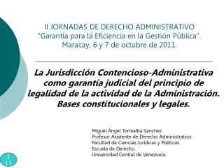 Miguél Ángel Torrealba Sánchez Profesor Asistente de Derecho Administrativo.