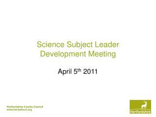 Science Subject Leader Development Meeting