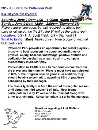 2012 All-Stars for Patterson Park 9 & 10 year old tryouts:
