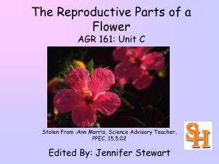 The Reproductive Parts of a Flower AGR 161: Unit C