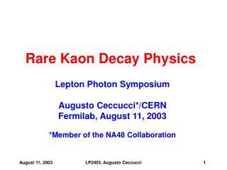 Rare Kaon Decay Physics