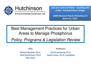 Lake  Erie Land and Water - Clarifying the Urban - Eutrophication Linkage