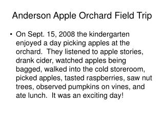 Anderson Apple Orchard Field Trip