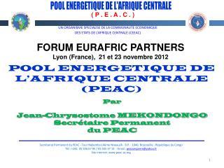 POOL ENERGETIQUE DE L'AFRIQUE CENTRALE
