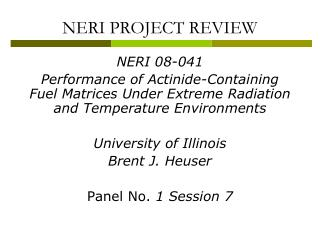 NERI PROJECT REVIEW